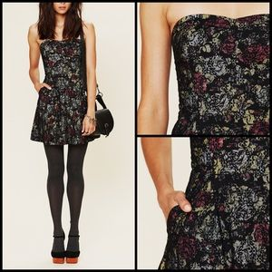 Free People Lace Overlay Neon Floral Corset Dress